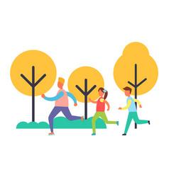 People running in park set cartoon icon vector