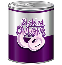 Pickled onions in aluminum can vector