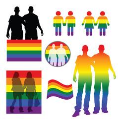Rainbow figures holding hand vector