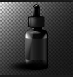 realistic black vape liquid bottle mockup vector image