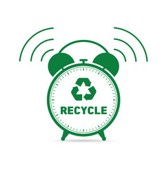Recycling symbol with clock vector