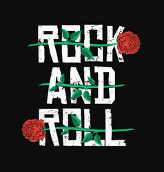 Rock and roll t-shirt design red roses between vector