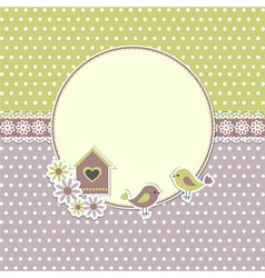 Round retro frame with birds vector image