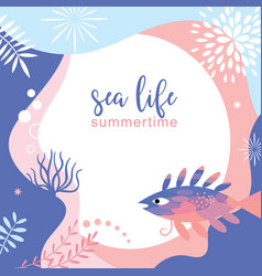 Sea life abstract background design vector
