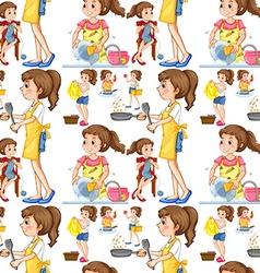 Seamless housewife doing chores vector image