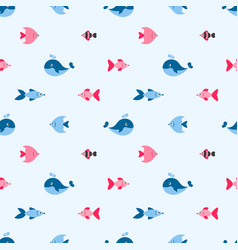 seamless pattern with cute fishes and whale vector image