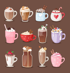 set of different coffee cups types mug with foam vector image