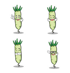 Set of white radish character vector