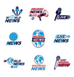 Set social telecommunication theme logotypes vector