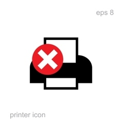 Simple printer error icon vector