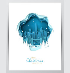 snowy london city paper art greeting card merry vector image