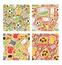 soccer seamless pattern soccerball football vector image