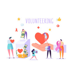 social donate volunteer character banner people vector image
