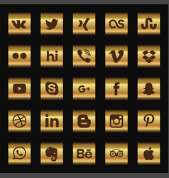 Social media icon set with dark background vector