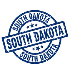 South dakota blue round grunge stamp vector