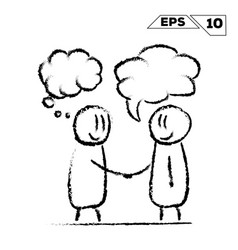 Stick figure handshake 2 man with speak and dream vector