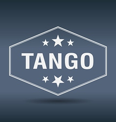 Tango hexagonal white vintage retro style label vector