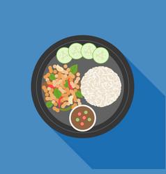 thai food pad ka prao basil chicken stir-fry vector image