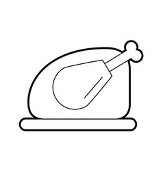 Tray with delicious chicken isolated icon vector