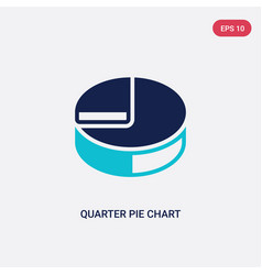 Two color quarter pie chart icon from business vector