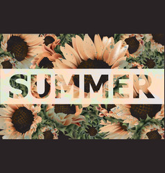 vintage sunflowers background beautiful vector image