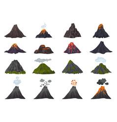 Volcano icons set cartoon style vector