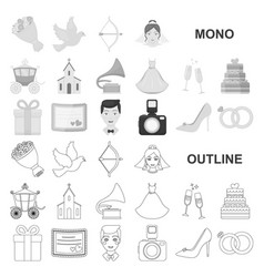 Wedding and attributes monochrom icons in set vector