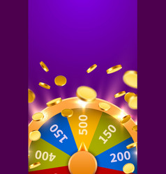 wheel of fortune with falling coins gamble chance vector image