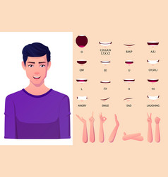 White man mouth animation pack with lip syncing vector