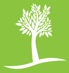 White tree on green background vector