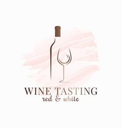 Wine glass watercolor bottle logo design on white vector