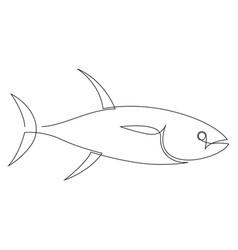 Yellowfin tuna fish continuous line graphic vector
