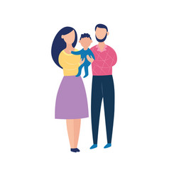 young couple holding a baby happy cartoon family vector image