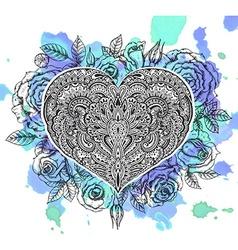Beautiful hand drawn ornate heart in zentangle vector image