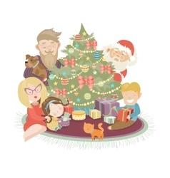Family celebrating Christmas at the christmas tree vector image