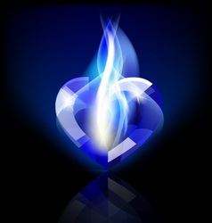 flaming blue heart crystal vector image vector image