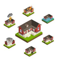 household insurance isometric set vector image vector image