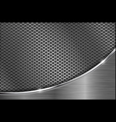 metal perforated background with chrome curve vector image vector image