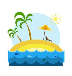 Relaxing Guy on a Tropical Island vector image vector image