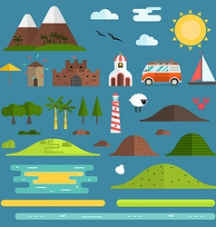 Travel Island Landscape Creator Set vector image