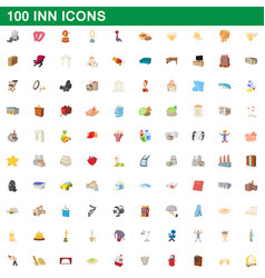 100 inn icons set cartoon style vector image vector image
