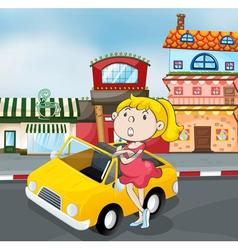 a girl near car vector image vector image