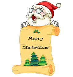 An old Santa holding a paper scroll with christmas vector image vector image