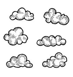 cloud icon set doodle line art weather sign vector image vector image