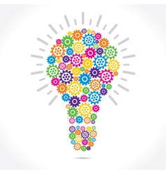 colorful gear make bulb shape vector image vector image