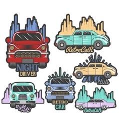 colorful set of retro car club logos vector image vector image