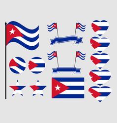 cuba flag set collection of symbols flag vector image vector image