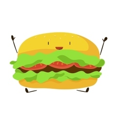 Funny fast food hamburger icon vector image vector image