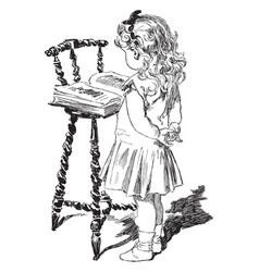 Girl reading individual vintage engraving vintage vector