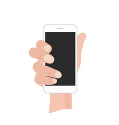 hand holding white phone on vector image vector image